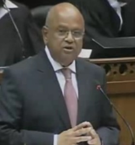 Minister Gordhan delivering the 2013 budget speech