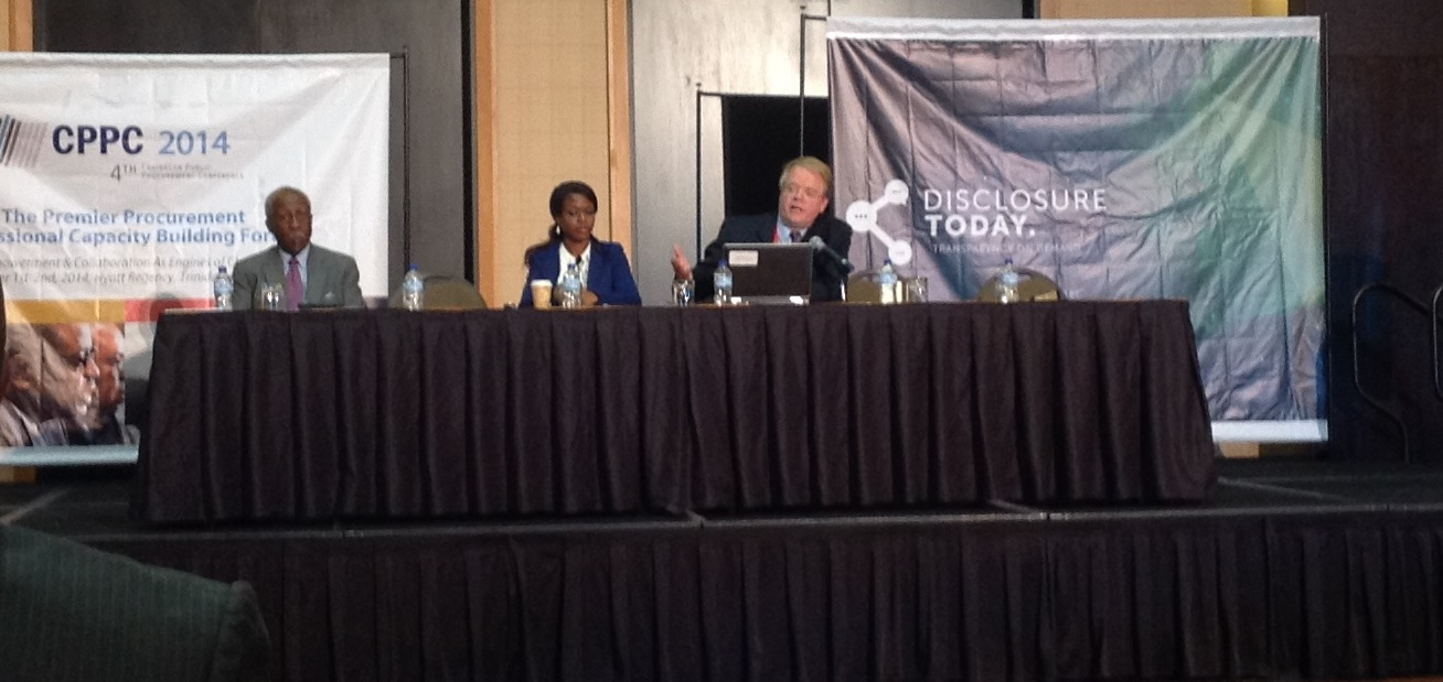 Williams-Elegbe at the conference (centre) with Reginald Dumas (left) and Chris Yukins during the workshop