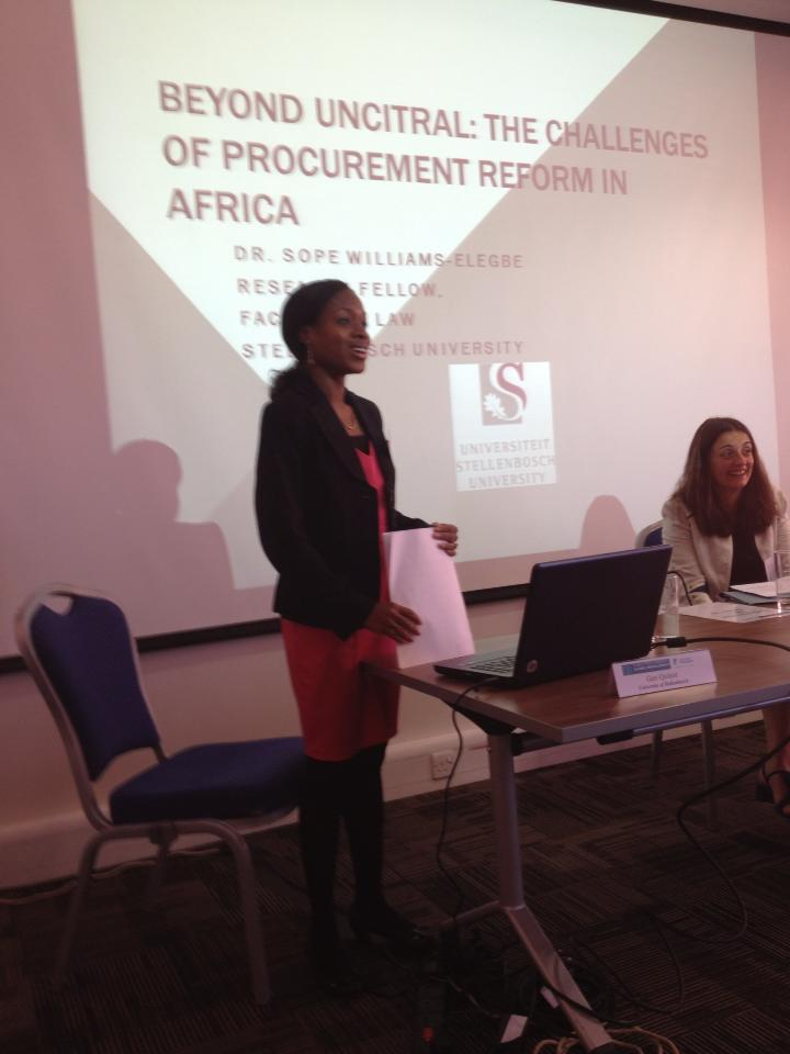 Dr Sope Williams-Elegbe, deputy director of APPRRU, presenting a paper on public procurement law reform in Africa at the Public Procurement Global Revolutions VI conference.