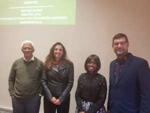 Speakers at the 2018 APLU Procurement Law Symposium (from left): Peter Volmink, Annamaria la Chimia, Sope Williams-Elegbe and Geo Quinot