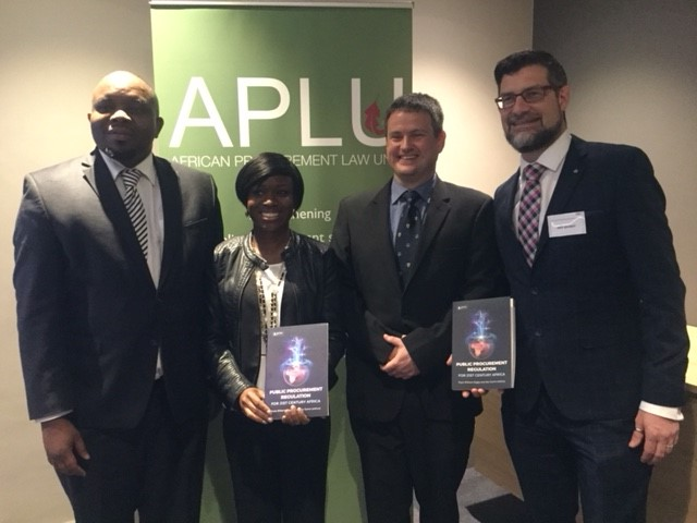 Pictured at the launch: (from left) Adv Kevin Malunga, Prof Sope Williams-Elegbe, Mr Stephen Allcock of Juta and Prof Geo Quinot