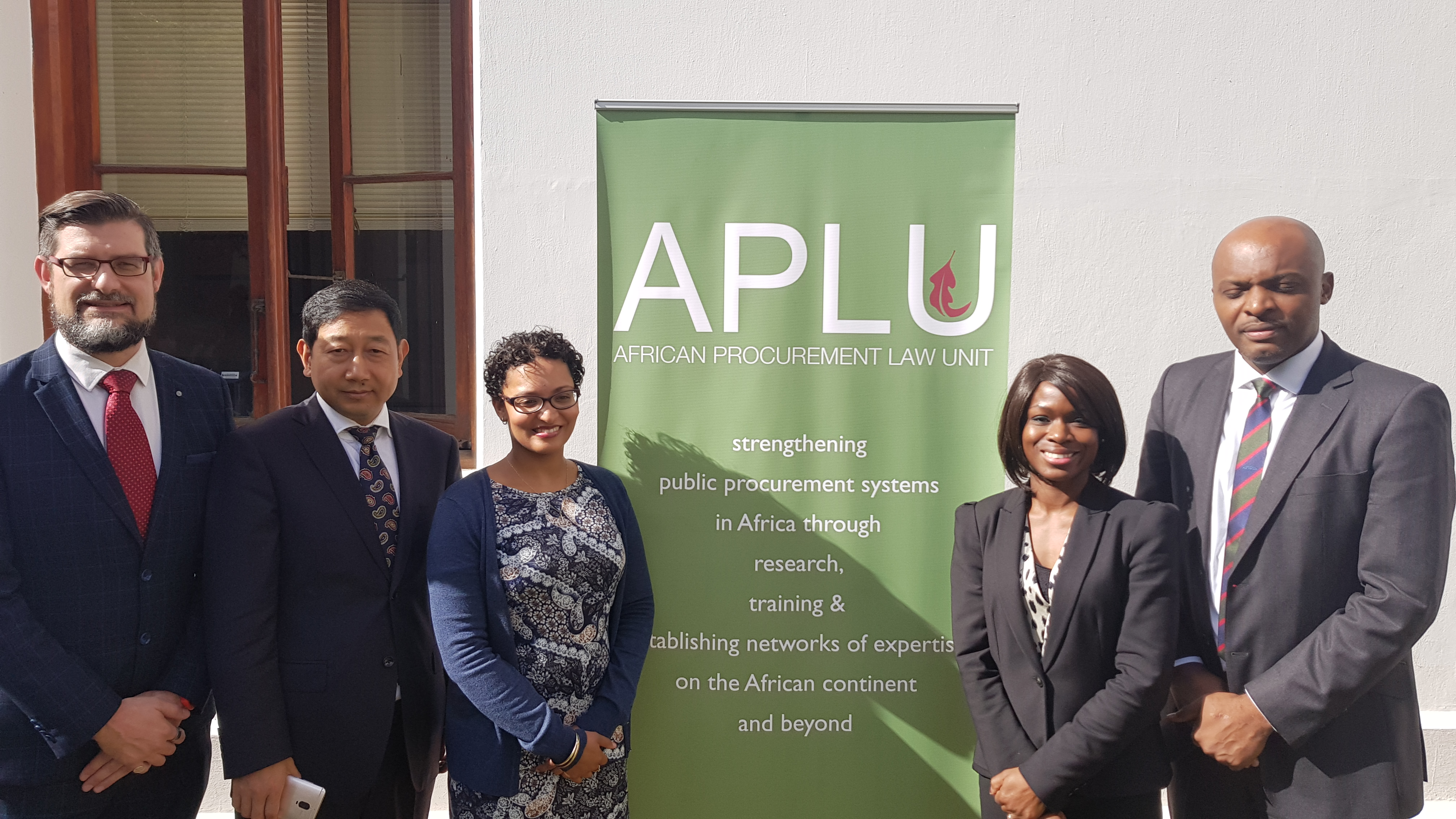 Speakers at the 2019 APLU Procurement Day (from left): Prof Geo Quinot, Prof Cao Fuguo, Dr Allison Anthony, Prof Sope Williams-Elegbe and Dr George Ngwangwu