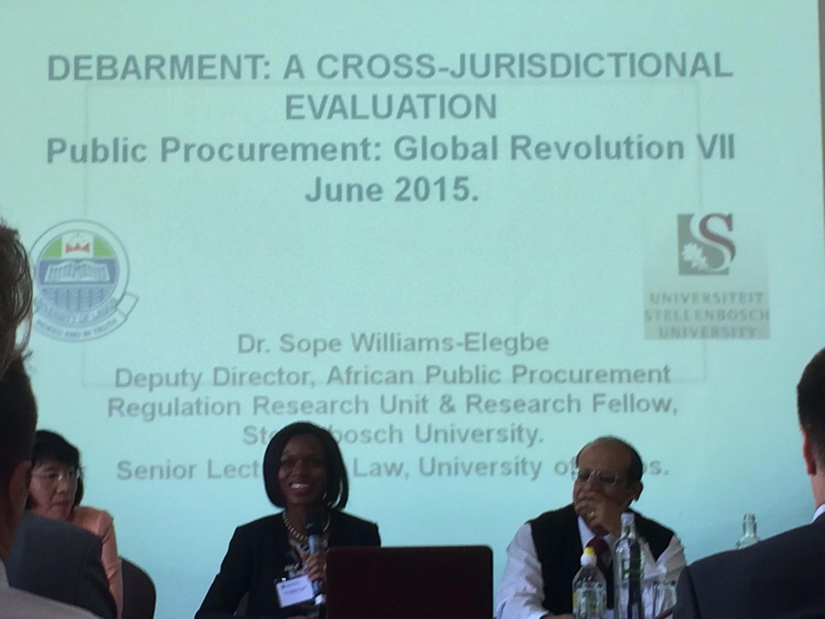 Williams-Elegbe delivering her paper at Global Revolutions VII.